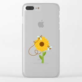 Bees On Sunflowers Clear iPhone Case