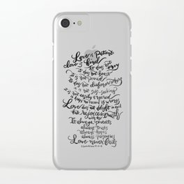 Love is Patient, Love is Kind -1 Corinthians 13:4-8 Clear iPhone Case