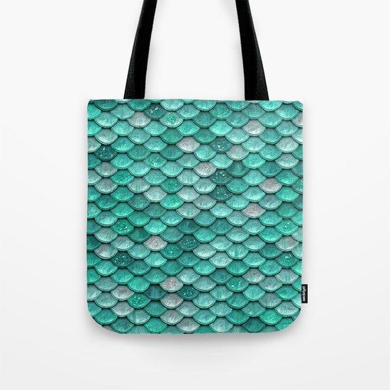 Aqua & mint mermaid glitter scales - Luxury Mermaid Scales Tote Bag