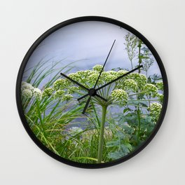 White Flowers at the ponds side Wall Clock