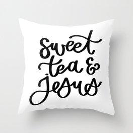 Sweet Tea and Jesus Typography Throw Pillow