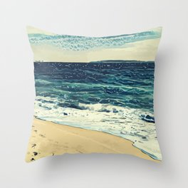 The beach and the sea at Cannes French Riveria Throw Pillow