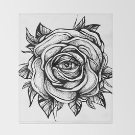 Black Rose flower With the eye Throw Blanket