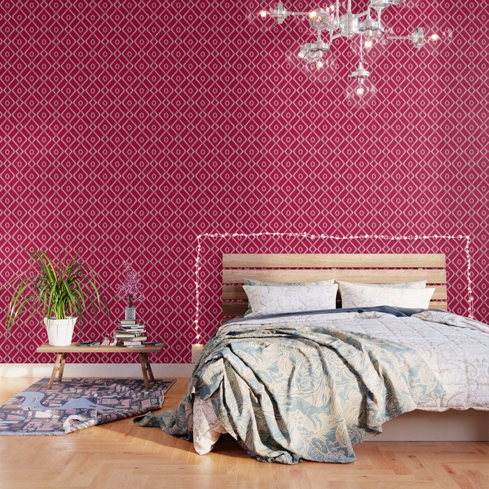 Modern Boho Ogee In Magenta Wallpaper By Beckybailey1 Society6
