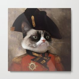Angry cat. Grumpy General Cat. Metal Print