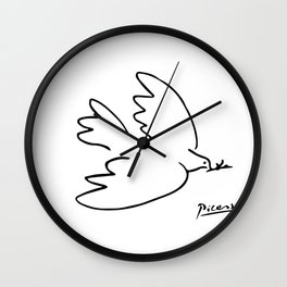 Pablo Picasso Dove of Peace Line Drawing Sketch Artwork for Prints Posters Tshirts Men Women Kids Wall Clock