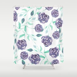 Purple Rose Bush Shower Curtain