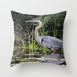 Heron pose in the channel Throw Pillow