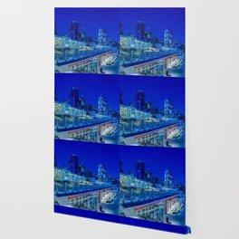 Seattle Pikes Market Waterfront in Blue Wallpaper