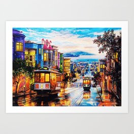 Russian Hill, San Francisco with view of Bay Art Print