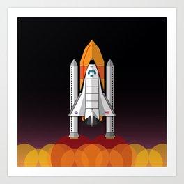 Space Shuttle night launch Art Print