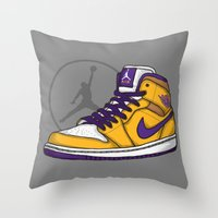 lakers Throw Pillows featuring Jordan 1 mid (LA Lakers) by Pancho the Macho