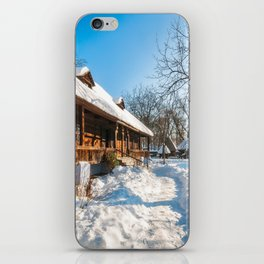 Fairy Tale Winter View at the Village Museum in Bucharest iPhone Skin
