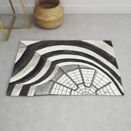 Architecture sketch of the Guggenheim Museum in New York Rug