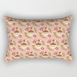 Acorn and Flowers Pattern Design / Blush Pink Rectangular Pillow