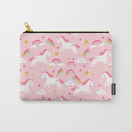Unicorns happy clouds rainbows magical pony pattern pink pastels pattern Carry-All Pouch