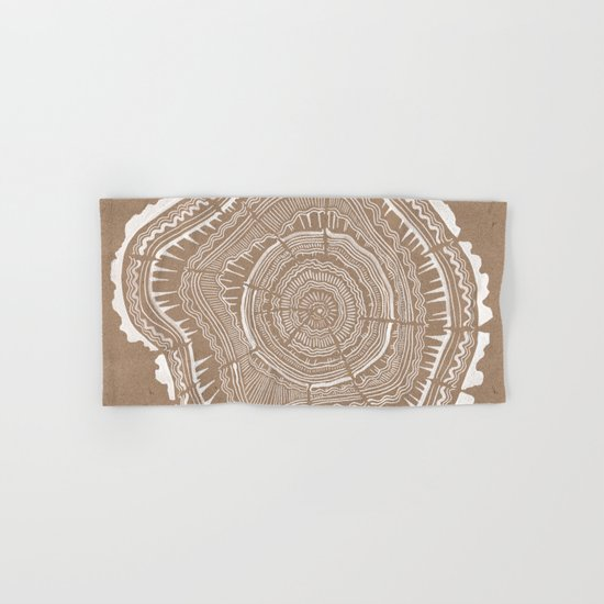 Tree Rings – White Ink on Kraft Hand & Bath Towel