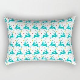 Blue Reindeer Christmas Pattern Rectangular Pillow