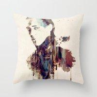 mandie manzano Throw Pillows featuring Mischief by  Maʁϟ