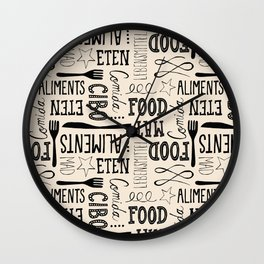 hand lettered food word pattern Wall Clock