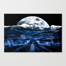 Road to Eternity (blue vintage moon mountain) Canvas Print