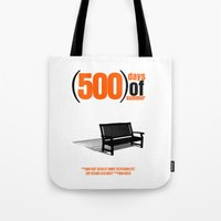 500 days of summer Tote Bags featuring 500 Days Of Summer by FunnyFaceArt