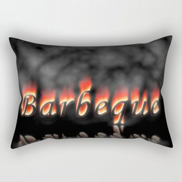 Barbeque Text On Fire Rectangular Pillow