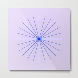 SpikeyBurst - Pastel Lilac / Purple with Blue Metal Print
