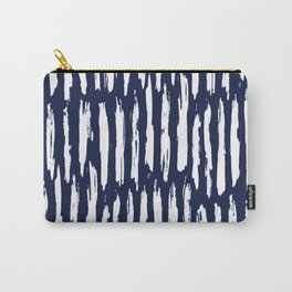 Vertical Dash White on Navy Blue Paint Stripes Carry-All Pouch