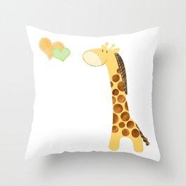 Baby Giraffe with Hearts Throw Pillow