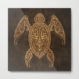 Intricate Vintage and Cracked Sea Turtle Metal Print