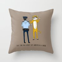 onesie Throw Pillows featuring The Onesie Rebel by Hashtag No Filter
