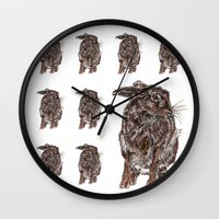hare Wall Clocks featuring Hare by Meredith Mackworth-Praed