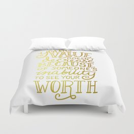 Your Value Quote - Hand Lettering Faux Gold Foil Duvet Cover
