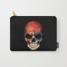 Dark Skull with Flag of Serbia Carry-All Pouch