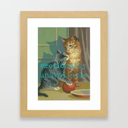 Vintage Paint By Number PBN Unavailable Cat Framed Art Print