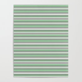 Pastel Mint Green and Gray Horizontal Line 4 on Linen White Pairs to 2020 Color of the Year Neo Mint Poster