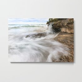 Elliot Falls on Miners Beach - Pictured Rocks, Michigan Metal Print