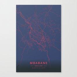 Mbabane, Swaziland - Neon Canvas Print