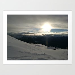 On the mountains, me and the sun, between the clouds Art Print