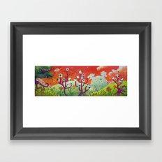 Meadow of strange trees Framed Art Print