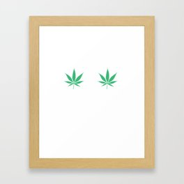 Happy Weed Smiley Face Framed Art Print