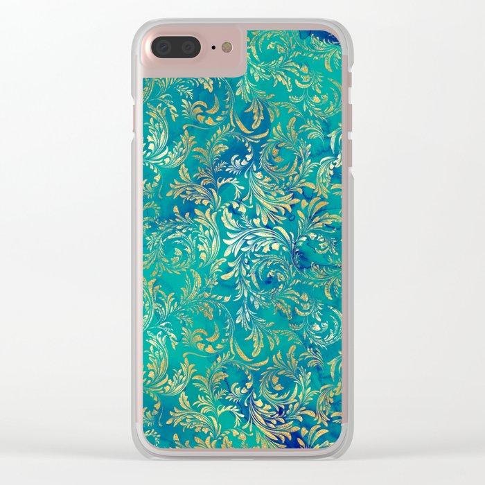 Blue Gold Swirls Clear iPhone Case