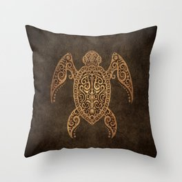 Intricate Vintage and Cracked Sea Turtle Throw Pillow