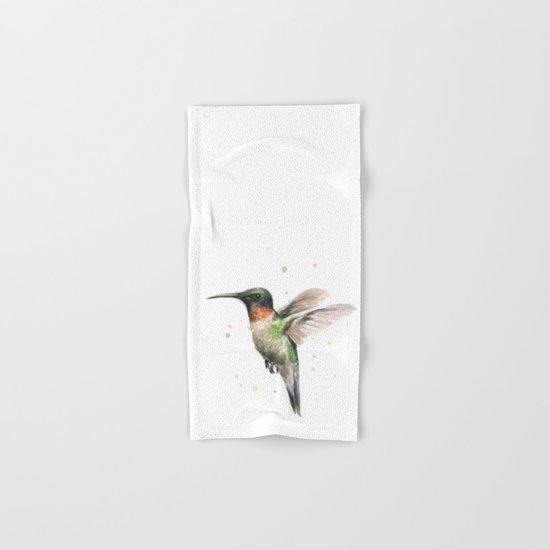 Hummingbird Watercolor Bird Animal Ruby Throated Hand & Bath Towel