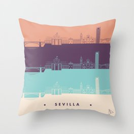 Seville City Skyline 2 Throw Pillow