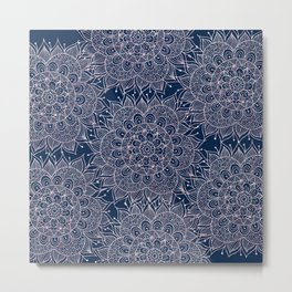 Modern navy blue blush pink watercolor floral mandala Metal Print