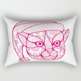 Cat Wearing Santa Hat Mandala Rectangular Pillow