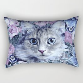 Cat In Flowers. Winter Rectangular Pillow