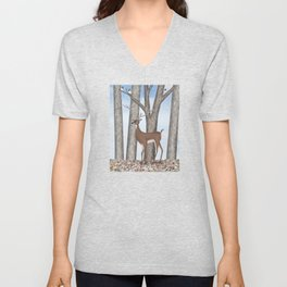 white-tailed deer & chickadees in the forest Unisex V-Neck